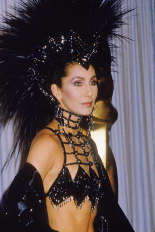 Cher In Black Headdress At Oscars