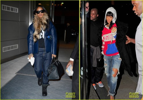 Rihanna wears a puffy coat and a fur scarf as she departs NYC