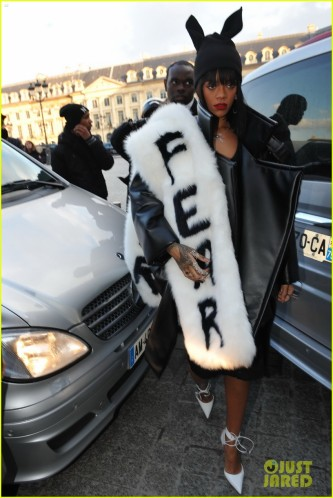 Rihanna Wears a Fear Stole